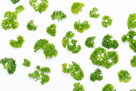 Fresh parsley arranged in a pattern isolated on white background Standard-Bild
