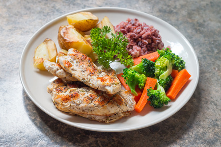 Diet food, Clean eating, Chicken steak and with vegetable