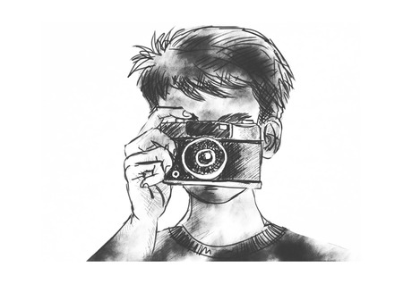 Photographer with classic camera
