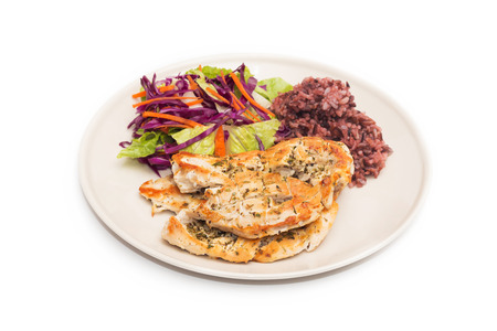 Diet food, Clean Eating, Chicken Steak with Brown rice and Salad