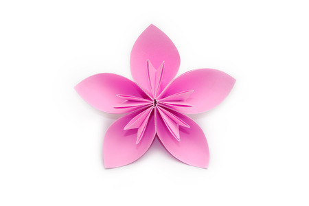Pink paper origami flower on white background Foto de archivo
