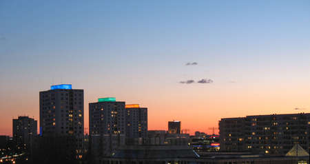 marzahn: Color-lighted houses in sunset panorama