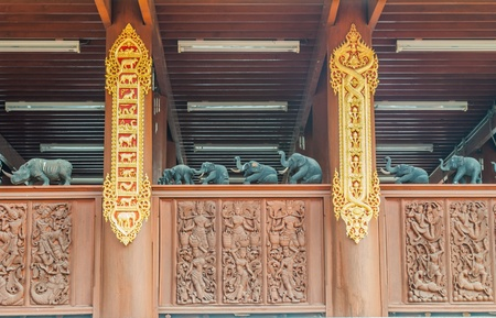 Wood carving in traditional Thai style  The details of the balcony photo