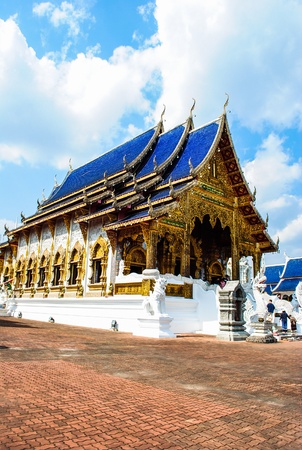 Buddhist temple in northern Thailand with clear sky
