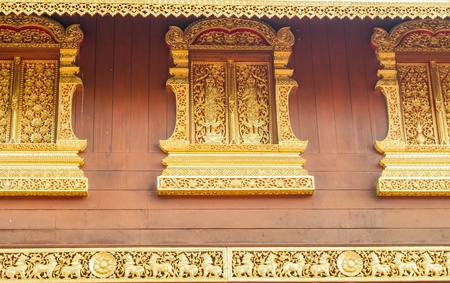 The golden window of the Thai temple architecture is marvelous painted and decorated