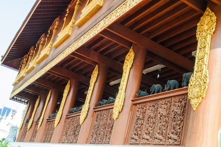 around balcony of central sanctuary in a Thai temple, Chiang Mai Thailand  Stock Photo