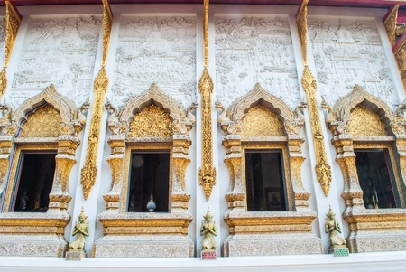 thai style temple windows Stock Photo