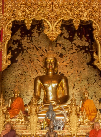 golden buddha statue image in Thai Temple, Thailand Stock Photo