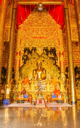 golden buddha statue image in Thai Temple, Thailand Stock Photo - 13586226