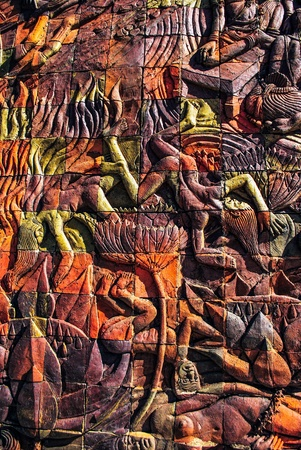 illustrates: Wall sculpture illustrates the punishment in hell