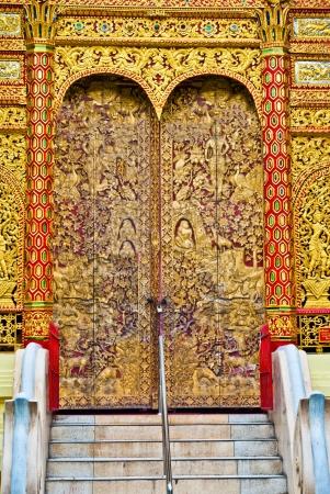 Door woodcarving in temple, Thailand