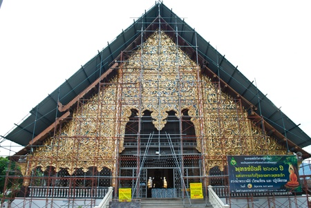 Traditional Thai church is under construction in the temple.