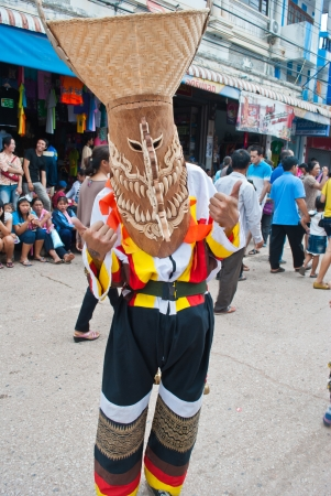 LOEI PROVINCE,THAILAND-July 23, 2012   Ghost Festival  Phi Ta Khon  is a type of masked procession celebrated on Buddhist merit- making holiday known in Thai as Boon Pra Wate  at Dan Sai district,July 23, 2012