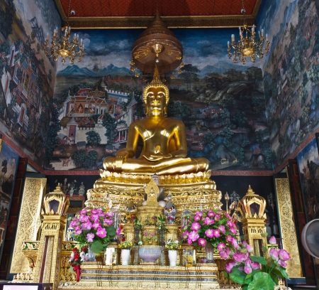 Buddha statue in thai temple,Chiang Mai,Thailand,Art in general. Made for Buddhists to worship Made up of donations no one ownership.