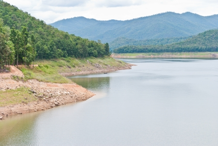 Mae Ngat Dam with mountain at Sri Lanna National Park, in Chiang Mai,Thailand Stock Photo - 15209487