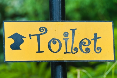 The signs of toilet in the park.