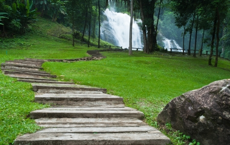 Path along the waterfall in forest Stock Photo - 15515870
