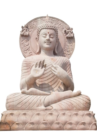 Buddha statue close up isolated against white background