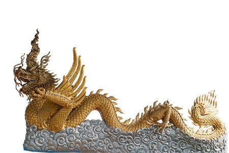 Golden Dragon statue isolated on white blackground