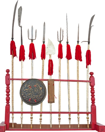 Collection of Asia antique weapons in Thai temple at Chiang Mai,Thailand  Isolated white background