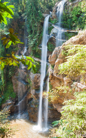 beautiful waterfall in the National Park ,Chiang Mai,Thailand Stock Photo