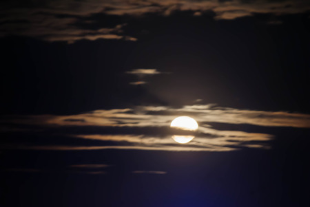 Silhouette sky with the moonlight. Stock Photo