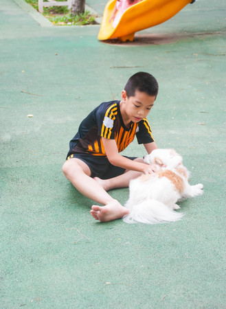 Cute little boy with dog at Playground.