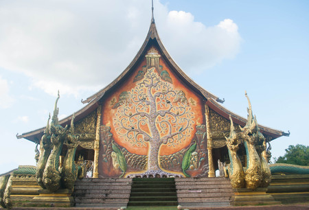 Beautiful Buddhist temple on  bright sky  in the Ubon Ratchathani ,Thailand, Editorial