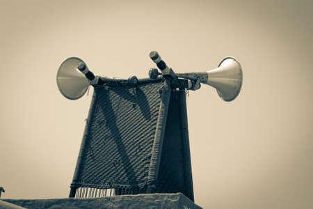 old fashioned loudspeaker of the village