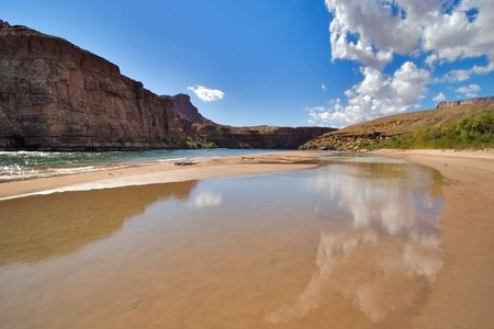 Clouds reflected on a bank of Colorado River