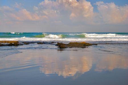 Sea surf on a deserted beach Stock Photo - 555012