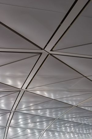 The Ceiling from the polished metal at the airport of Hong Kong