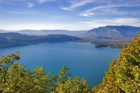 Fine lake in France, mountains and trees photo