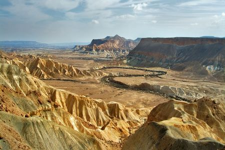 A picturesque valley in desert Negev in Israel