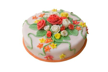 A pie beautifully decorated with flowers from a dough photo