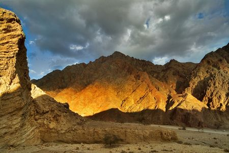The mountains brightly shined by the sun about Eilat in Israel
