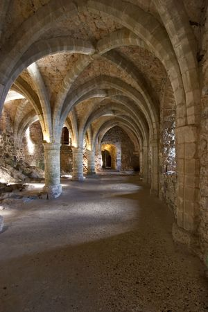 Gallery with columns, former prison in Middle Ages Stock Photo - 863535