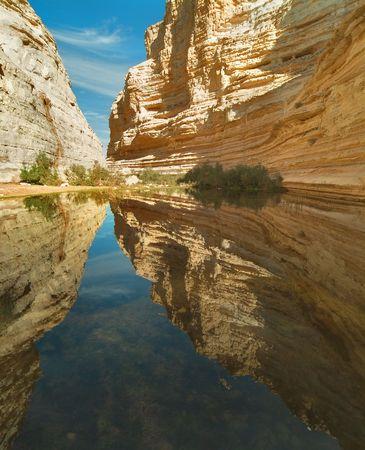 Picturesque canyon Ein-Avdat in desert Negev in Israel