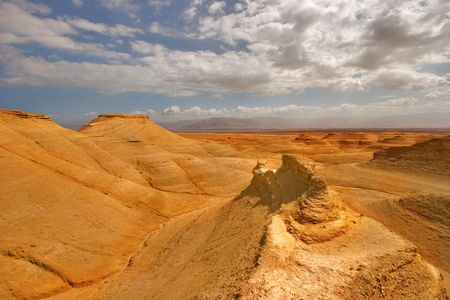 travel features:  Picturesque ancient mountains about the Dead Sea in Israel