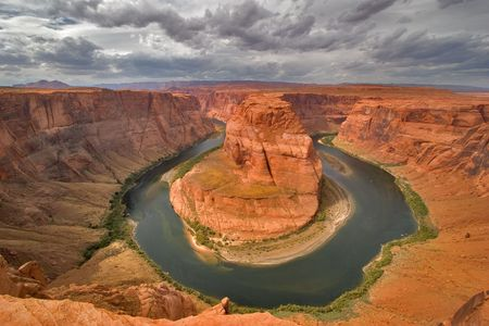 An abrupt bend of the river Colorado in state of Utah in the USA photo