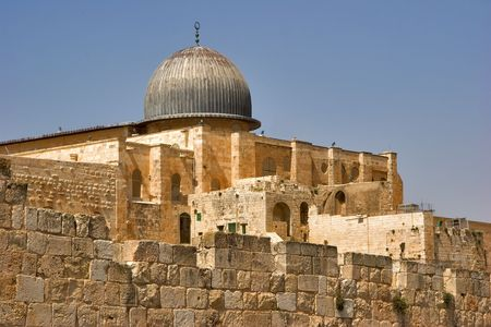 A black dome of mosque Al- Aqsa in Jerusalem Stock Photo - 967676