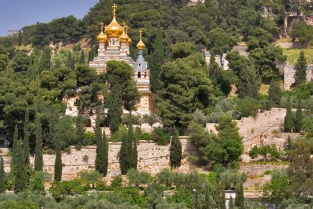 An orthodox temple above valley ?idron in Jerusalem Stock Photo - 1080421