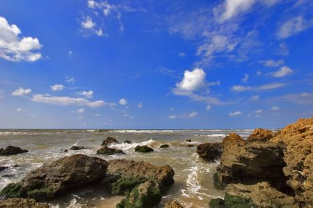 Coast of Mediterranean sea with big stones in water Stock Photo - 1236306