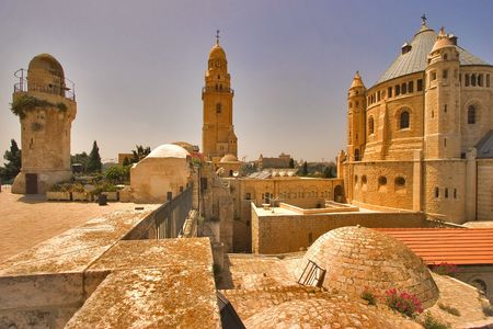 Churches and mosques in old quarters of Jerusalem photo