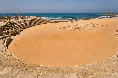 ceasarea:  An hippodrome of the period of the Roman invasion in national park Ceasarea on Mediterranean sea Stock Photo