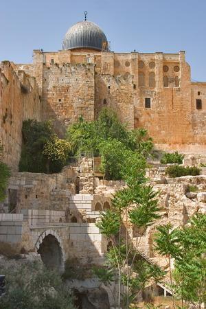 Ancient walls of Jerusalem and a dome of a mosque Al- Aqsa   Stock Photo - 1446812