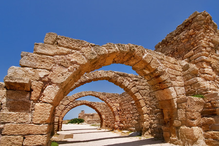 caesarea:  National park Caesarea on coast of Mediterranean sea in Israel Stock Photo