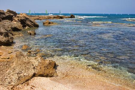 National park Caesarea on coast of Mediterranean sea photo