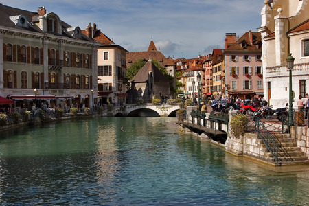 house gables: nLake Annecy embankment on a bright sunny noonn