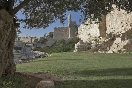 surrounding:  The ancient walls surrounding Old city in Jerusalem  Stock Photo